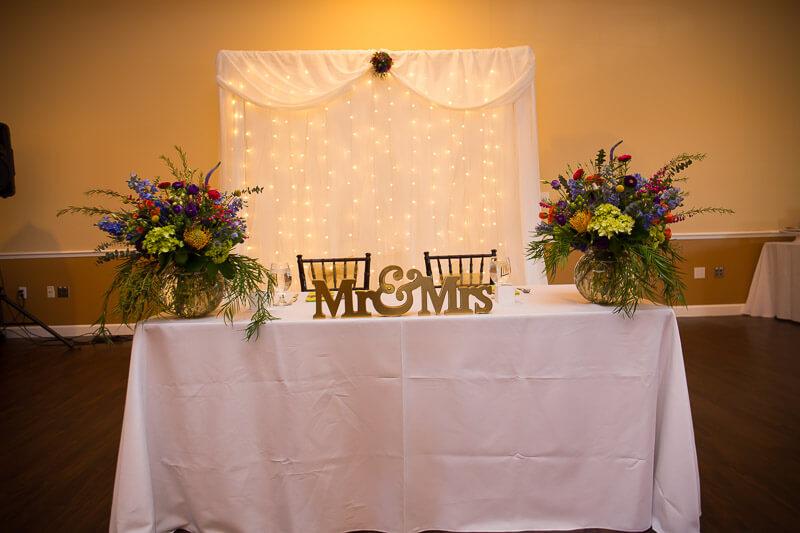Bride & Groom Table at Grand Oaks Resort