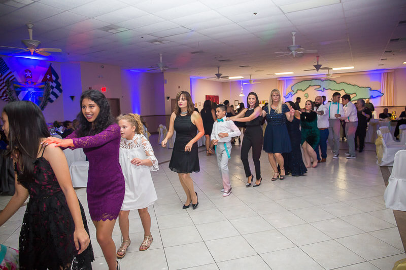 Conga Line on Dance Floor